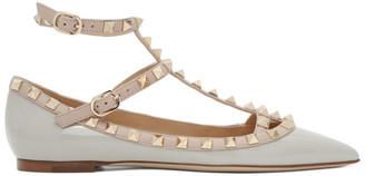 Valentino Grey and Pink Garavani Patent Rockstud Cage Ballerina Flats