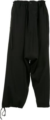 Yohji Yamamoto Cropped Drop-Crotch Trousers
