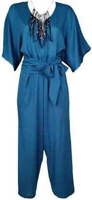 Lalipop Design Blue Viscose Jumpsuit With Necklace