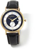 Croton 14K Gold Men's Watch with Genuine Lizard Leather Strap