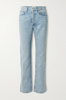 AGOLDE Net Sustain Lana Distressed Organic Low-rise Straight-leg Jeans - Blue
