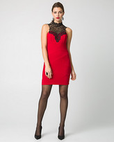 Le Château Knit & Lace Illusion Mini Dress