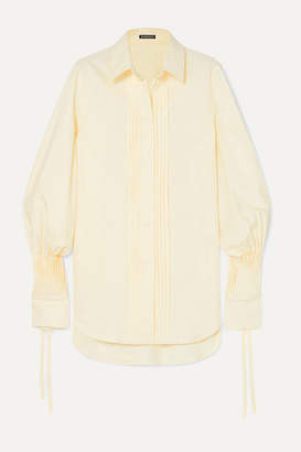 Ann Demeulemeester Pintucked Striped Cotton-poplin Shirt - Yellow