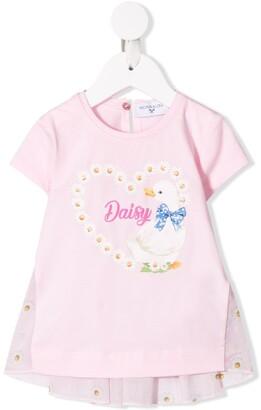 MonnaLisa Daisy duck print T-shirt