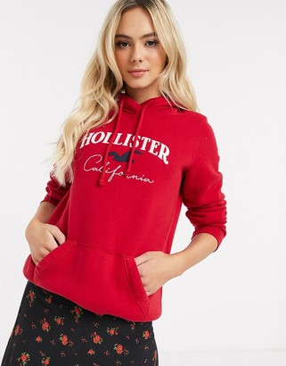 Hollister hoodie with front logo-Red