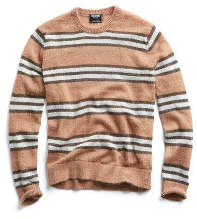 Todd Snyder Italian Brushed Wool Striped Sweater in Camel