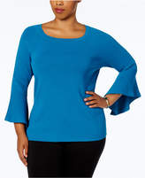 INC International Concepts Anna Sui Loves Plus Size Bell-Sleeve Sweater, Created for Macy's