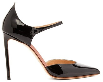 Francesco Russo Point-toe Patent-leather Mary Jane Pumps - Black