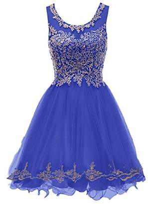 Yucou Junior's Scoop Neckline Lace Gold Applique Short Prom Homecoming Dresses Evening Gown Royal Blue
