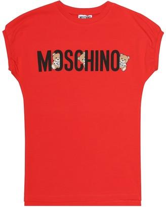 MOSCHINO BAMBINO Logo stretch-cotton dress