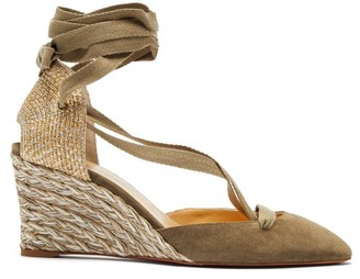 Christian Louboutin Noemia 70 Suede Wedge Espadrilles - Womens - Grey