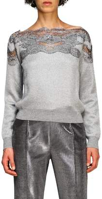 Ermanno Scervino Sweater Sweater With Boat Neckline And Lace Inserts