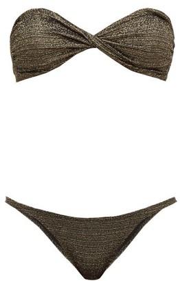 Lisa Marie Fernandez Alexia Metallic Bandeau Bikini - Womens - Black Gold