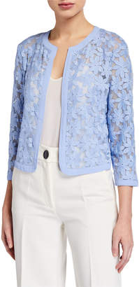 Anne Klein Mesh Floral Embroidered Open Cardigan