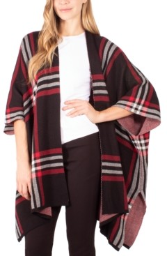 NY Collection Plaid-Print Open-Front Poncho