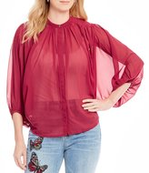 Lucky Brand Button Front Butterfly Sleeve Woven Top