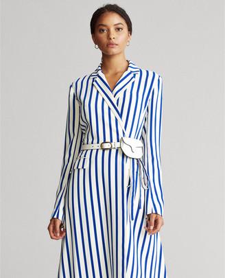 Ralph Lauren Satin Long-Sleeve Wrap Dress