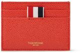 Thom Browne Penguin-embroidered Pebble-grain Leather Cardholder - Orange