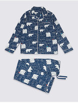 Marks and Spencer Pure Cotton Bear Print Pyjamas (1-16 Years)
