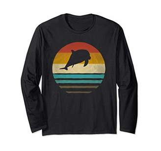 Dolphin Aquatic Retro Vintage Sunset Old School Funny Gift Long Sleeve T-Shirt