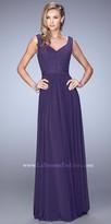 La Femme Jeweled Studded V Shaped Neckline Evening Dress