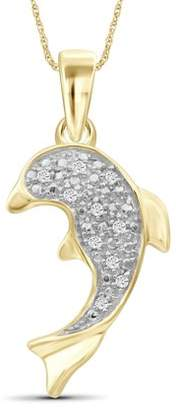 Jewelersclub JewelersClub White Diamond Accent 14k Gold Over Silver Fish Pendant