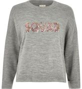 River Island Womens Grey knit 'Squad' sequin sweater