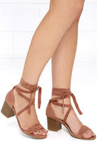 Bamboo This Moment Camel Suede Lace-Up Heels
