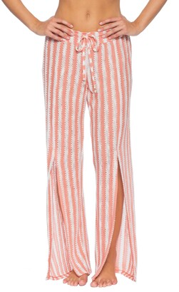 Isabella Collection Rose Stripe Knit Cover-Up Pants