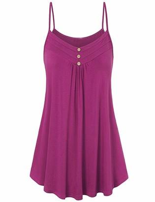 Aswinfon Women Strap Top Summer Sleeveless Loose Solid Color Vest Blouse T-Shirt (Rose Red 4XL)