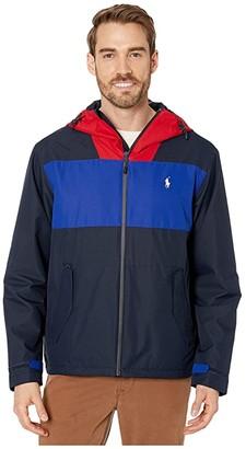 Polo Ralph Lauren Polo Active Color Block Windbreaker Jacket (Aviator Navy/Preppy White/RL 2000 Red) Men's Jacket
