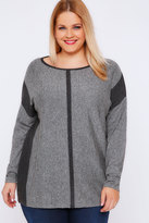 Yours Clothing Grey Marl Colour Block Jumper