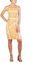 Prada Women's Nylon Cotton Blend Floral Print Dress Orange