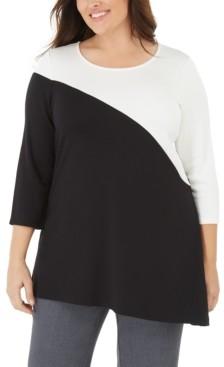 Alfani Plus Size Colorblock Tunic, Created for Macy's