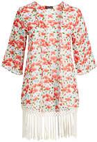 Chloé Alisha & Women's Kimono Cardigans 179 - Red Floral Fringe-Trim Kimono - Women