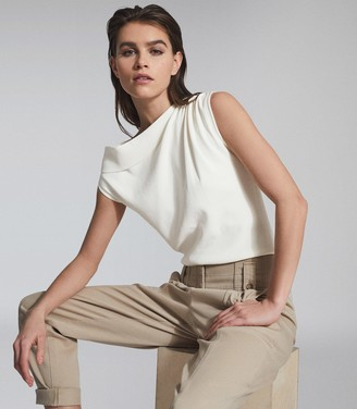 Reiss MILA ASYMMETRIC FINE KNIT TOP Ivory