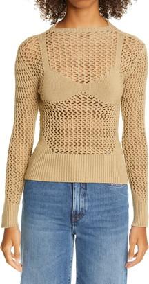 Isa Boulder Bra Detail Mesh Sweater
