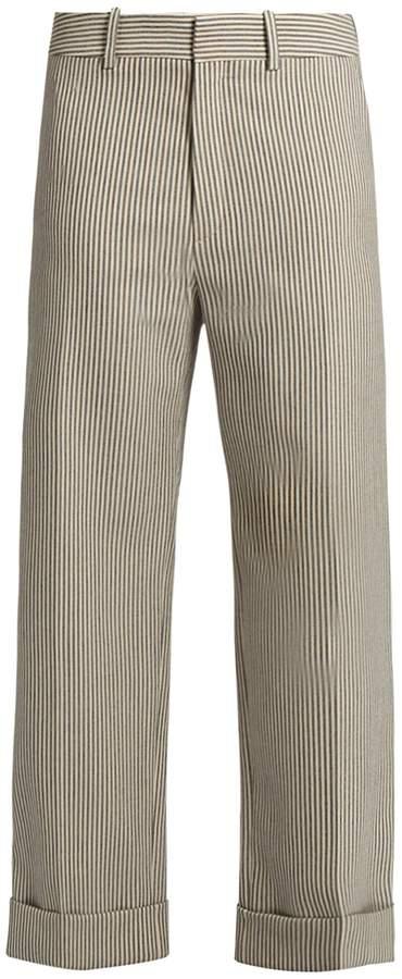 Chloé Striped wide-leg wool-blend trousers