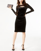 INC International Concepts Petite Velvet Cutout Illusion Dress, Created for Macy's