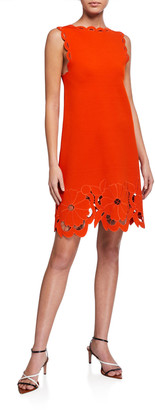 Oscar de la Renta Floral-Cutout Day Dress