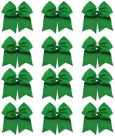 "QtGirl 7"" Big Cheer Bows 12 Pcs Cheerleader Hair Bow with Clip"