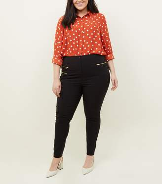 New Look Curves Three Zip Skinny Stretch Trousers