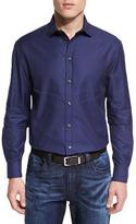 Armani Collezioni Tonal Micro-Gingham Printed Sport Shirt, Blue