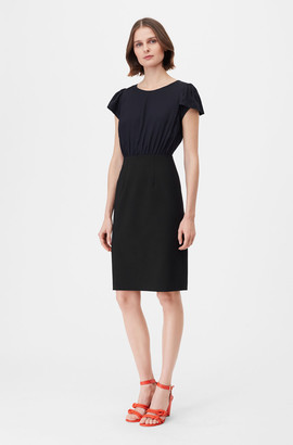 Rebecca Taylor Tailored Clean Suiting & Silk Twill Dress