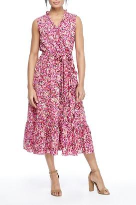 London Times Ruffle Hem Tie Waist Dress