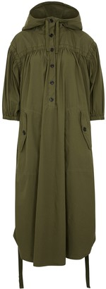 Dries Van Noten Drim Green Hooded Cotton Dress