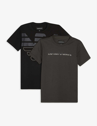 Emporio Armani Logo-print cotton T-shirt pack of two 4-16 years