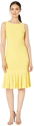 Adrianna Papell Matte Jersey Pintucked Midi Sheath Dress with Flounced Hem (Canary Yellow) Women's Dress