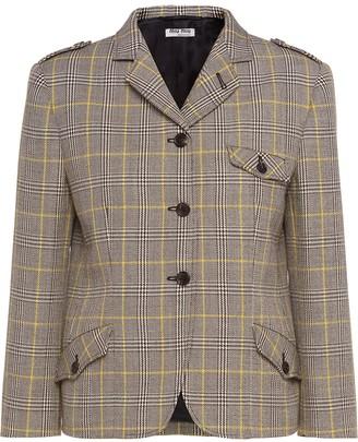 Miu Miu Plaid Single-Breasted Jacket