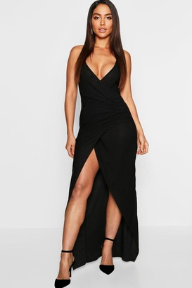 boohoo Crepe Plunge Wrap Detail Maxi Dress